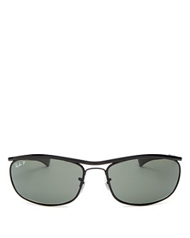 Ray-Ban - Men's Olympian Polarized Brow Bar Square Wrap Sunglasses, 62mm