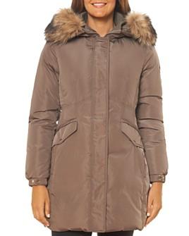 kate spade new york - Faux Fur-Trim Fine Oxford Parka
