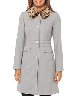 kate spade new york - Faux Fur-Collar Coat