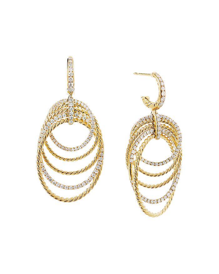 David Yurman - 18K Yellow Gold Origami Drop Earrings with Pavé Diamonds