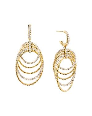 David Yurman 18K Yellow Gold Origami Drop Earrings with Pave Diamonds