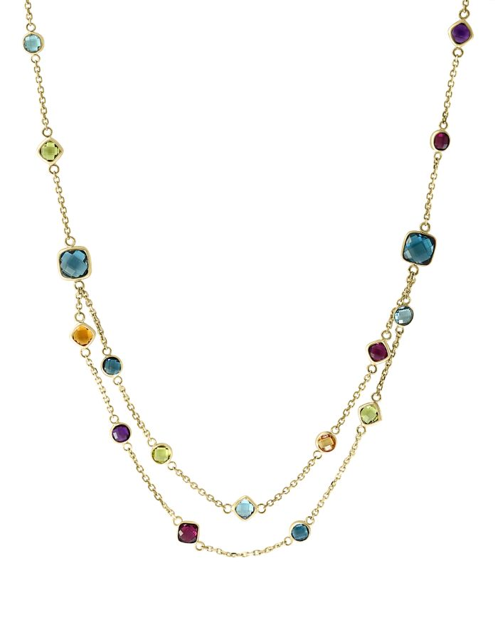 """Bloomingdale's Rainbow Gemstone Station Necklace in 14K Yellow Gold, 18"""" - 100% Exclusive  