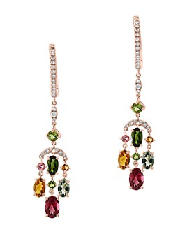 Bloomingdale's - Rainbow Tourmaline & Diamond Earrings in 14K Rose Gold - 100% Exclusive