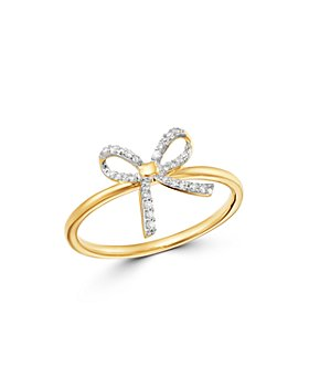 Adina Reyter - 14K Yellow Gold Pavé Diamond Tiny Bow Ring
