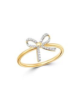Adina Reyter - 14K Yellow Gold Pavé Diamond Tiny Bow Ring