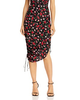 For Love & Lemons - Molly Rose-Print Ruched Drawstring Skirt