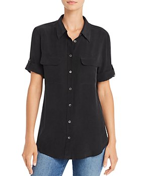Equipment - Short Sleeve Slim Signature Silk Shirt