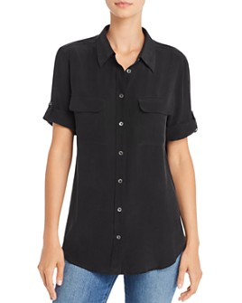 Equipment - Short Sleeve Slim Signature Silk Shirt