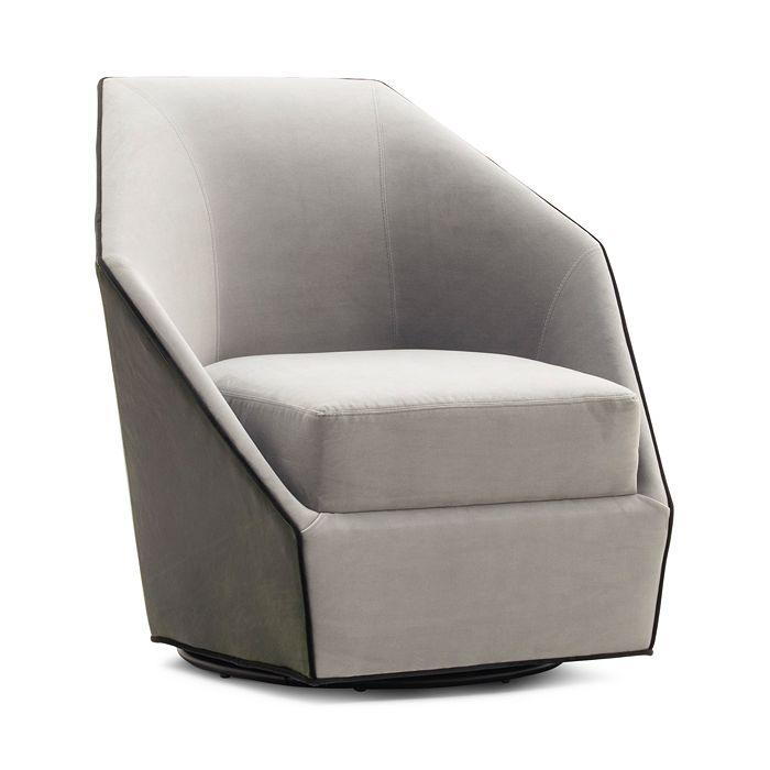 Mitchell Gold Bob Williams Jewel Return Swivel Chair In Montblanc Winterpine/vivid Silver