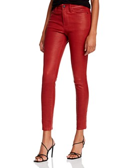 FRAME - Le High Crop Leather Skinny Jeans in Dark Red
