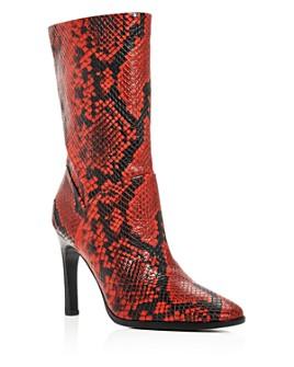 Sigerson Morrison - Women's Kiona Snake-Embossed Square-Toe Boots