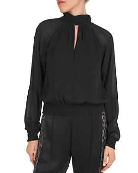 The Kooples - Ruched Keyhole Blouson Top