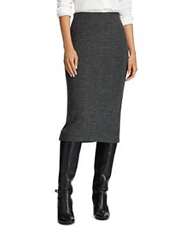 Ralph Lauren - Merino Wool Houndstooth Plaid Skirt