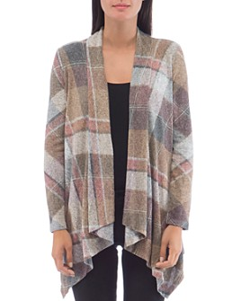 B Collection by Bobeau - Amie Cozy Plaid Open Cardigan