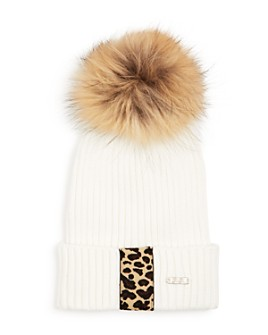 GiGi - Girls' Cheetah Fox Fur Pom-Pom Hat - 100% Exclusive