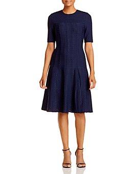 St. John - Lace Jacquard Knit A-Line Dress