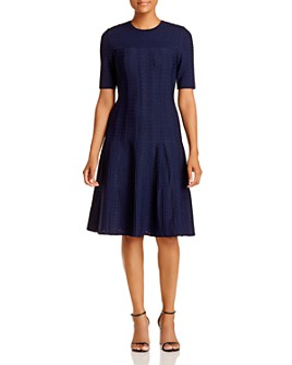St. John - Lace Jacquard Knit A-Line Dress