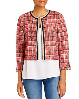 St. John - Cropped Metallic Plaid Knit Jacket