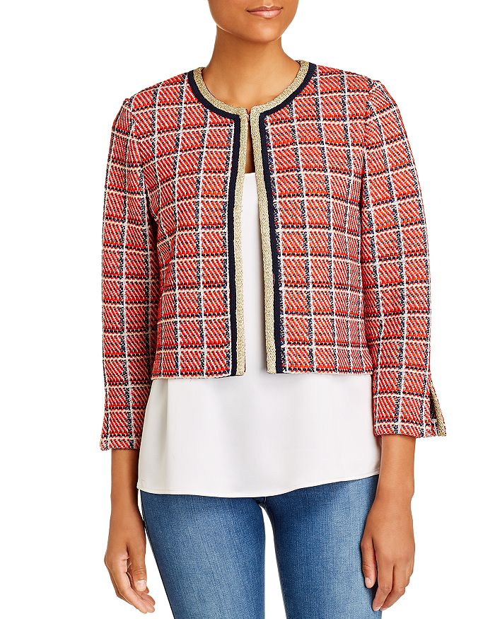 St. John - Cropped Metallic Plaid Knit Jacket