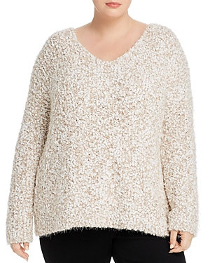 Cupio Plus V-Neck Popcorn-Stitch Sweater