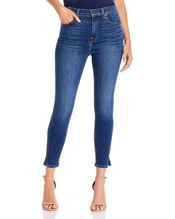 7 For All Mankind Ankle Slit-Hem Skinny Jeans In Mohawk River