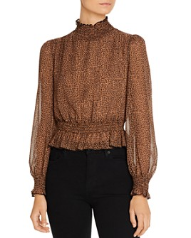Lucy Paris - Puff-Sleeve Leopard Print Top
