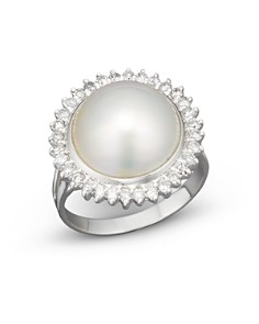 Cultured Mabé Pearl Ring with Diamonds in 14K White Gold, 12mm - Bloomingdale's_0