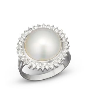 Cultured Mabe Pearl Ring with Diamonds in 14K White Gold, 12mm