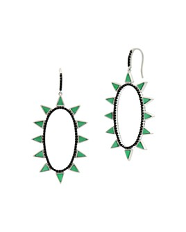 Freida Rothman - Industrial Finish Spiked Oval Open Hoop Earrings in Rhodium-Plated Sterling Silver