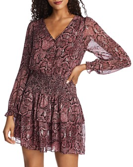 1.STATE - Snake-Print Ruffle Dress