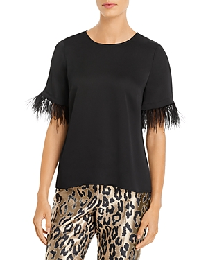 Vince Camuto Tops FEATHER-TRIM TOP