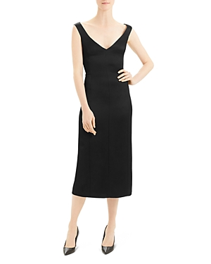 Theory Paneled Crepe Midi Dress