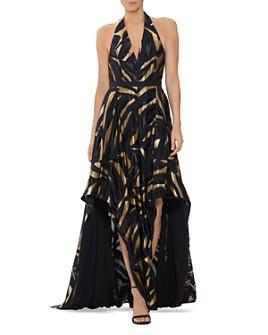 HALSTON - Metallic Combo Halter Gown