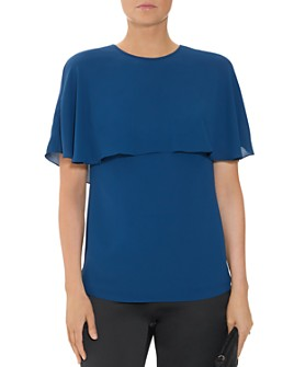HALSTON - Cape Sleeve Drape Back Top