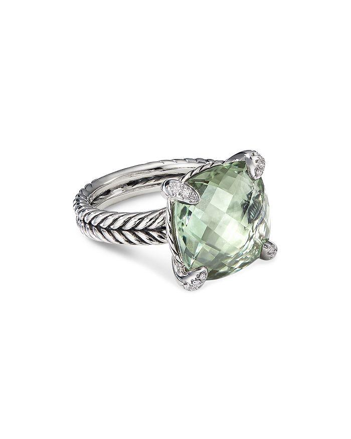 David Yurman - Sterling Silver Châtelaine®  Ring with Prasiolite & Diamonds