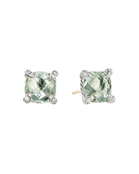 David Yurman - Sterling Silver Châtelaine®  Stud Earrings with Prasiolite & Diamonds