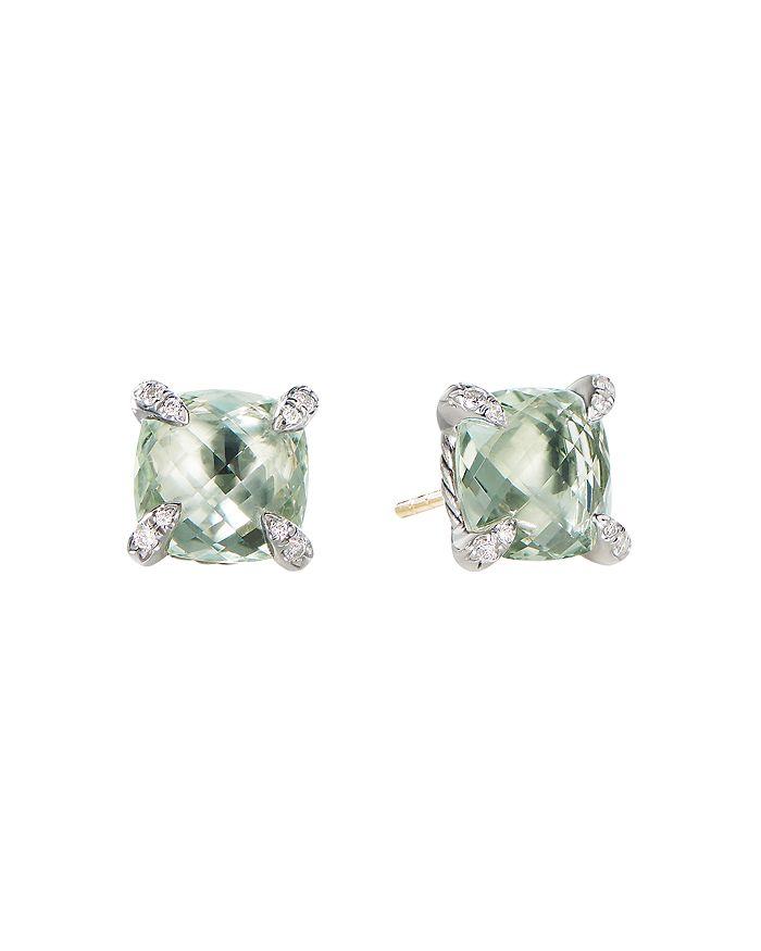 David Yurman - Sterling Silver Châtelaine®  Stud Earrings with Prasiolite & Diamonds