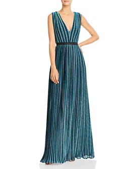 BCBGMAXAZRIA - Metallic Stripe Pleated Gown