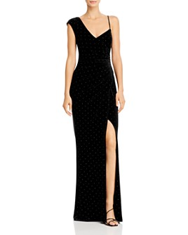 BCBGMAXAZRIA - One-Shoulder Studded Velvet Gown