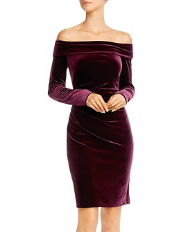 Eliza J - Off-the-Shoulder Velvet Long Sleeve Dress