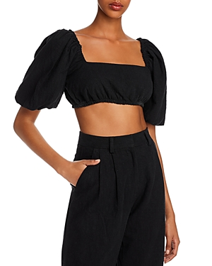 Bec & Bridge Harriet Puff Sleeve Crop Top