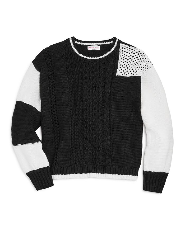 Design History - Girls' Mixed-Knit Color-Block Sweater - Big Kid