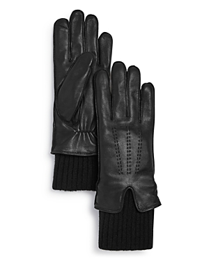 Knit-Cuff Leather Tech Gloves