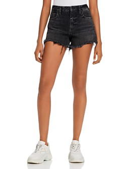 alexanderwang.t - Bite Back-Zip Jean Shorts in Gray Aged