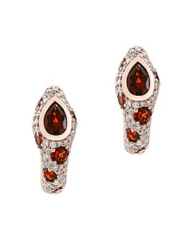 Bloomingdale's - Garnet & Diamond Oval Hoop Earrings in 14K Rose Gold - 100% Exclusive