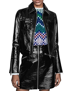 Maje Baptiste Patent Leather Jacket