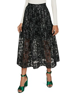 Maje - Jizia Sequined Metallic Midi Skirt