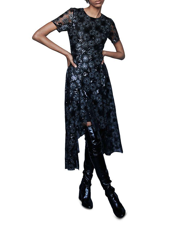 Maje - Rizia Embroidered Sunburst-Pattern Midi Dress