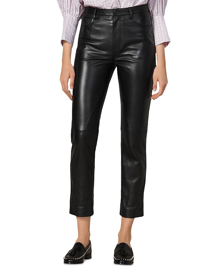 Sandro - Leather Ankle Pants