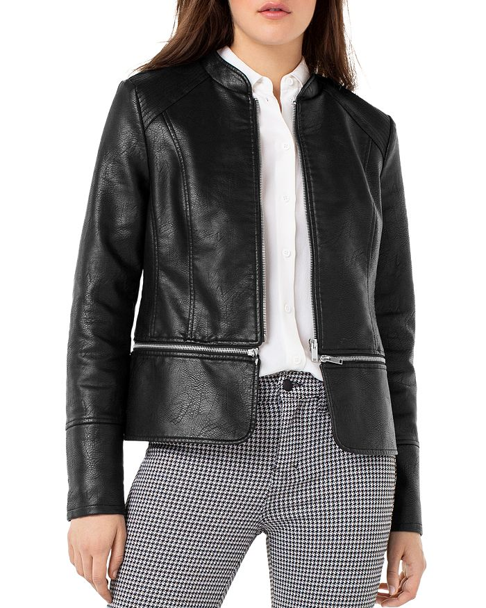 Liverpool Los Angeles - Convertible Faux-Leather Moto Jacket